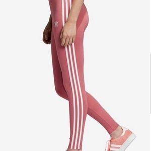 NWT Adidas Original Three Stripe Pink Leggings M
